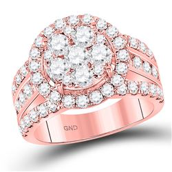 2 CTW Round Diamond Cluster Bridal Wedding Engagement Ring 14kt Rose Gold - REF-177A3M
