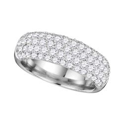 1 & 5/8 CTW Womens Round Diamond Pave Composite Band Ring 14kt White Gold - REF-204W5H