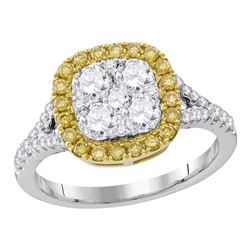 1 & 1/3 CTW Womens Round Yellow Diamond Square Cluster Ring 18kt White Gold - REF-224V9Y