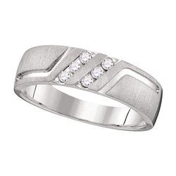 1/6 CTW Mens Round Diamond Wedding Anniversary Band Ring 14k White Gold - REF-66N8A