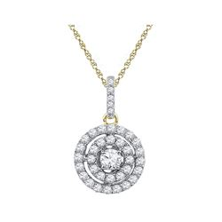 1/2 CTW Womens Round Diamond Circle Cluster Pendant 10kt Two-tone Gold - REF-40F8W