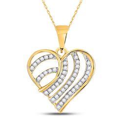 1/4 CTW Womens Round Diamond Stripe Heart Pendant 10kt Yellow Gold - REF-15F2W