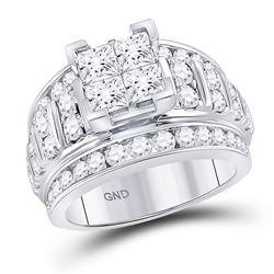 3 CTW Princess Diamond Cluster Bridal Wedding Engagement Ring 14kt White Gold - REF-354R5X