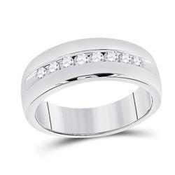 1/2 CTW Mens Round Diamond Wedding Single Row Band Ring 14kt White Gold - REF-99X2T