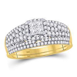 1 CTW Princess Diamond Bridal Wedding Ring 14kt Yellow Gold - REF-81X7T