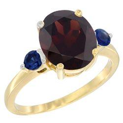 2.64 CTW Garnet & Blue Sapphire Ring 14K Yellow Gold - REF-34N8Y