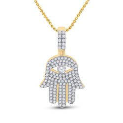 1 CTW Mens Round Diamond Hamsa Hand Charm Pendant 10kt Yellow Gold - REF-70F3W