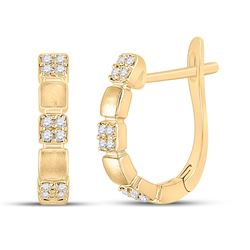 1/10 CTW Womens Round Diamond Hoop Earrings 14kt Yellow Gold - REF-20N5A