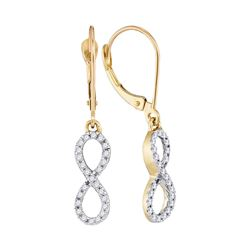 1/4 CTW Womens Round Diamond Infinity Dangle Earrings 10kt Yellow Gold - REF-17X6T