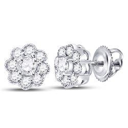 1/4 CTW Womens Round Diamond Flower Cluster Earrings 14kt White Gold - REF-21N8A