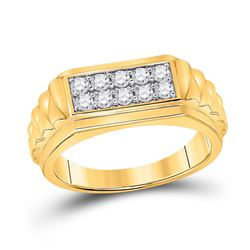 1/2 CTW Mens Round Diamond Ribbed Flat Top Band Ring 10kt Yellow Gold - REF-61T4V