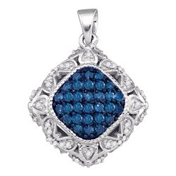 1/2 CTW Womens Round Blue Color Enhanced Diamond Square Pendant 10kt White Gold - REF-27Y3N