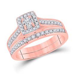 1/2 CTW Round Diamond Halo Bridal Wedding Ring 10kt Rose Gold - REF-46N3A