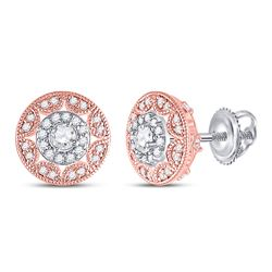 1/2 CTW Womens Round Diamond Halo Cluster Earrings 14kt Two-tone Gold - REF-54V5Y