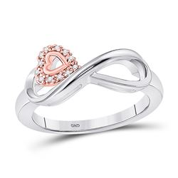 1/20 CTW Womens Round Diamond Rose-tone Heart Infinity Ring 10kt White Gold - REF-19F6W