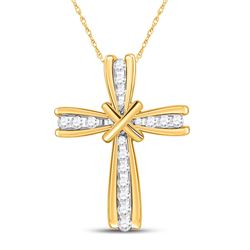 1/6 CTW Womens Round Diamond Cross Pendant 10kt Yellow Gold - REF-15M2F