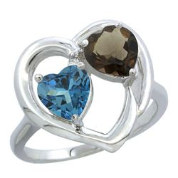 2.61 CTW Diamond, London Blue Topaz & Quartz Ring 14K White Gold - REF-34M2K