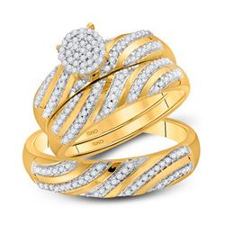3/8 CTW His Hers Round Diamond Cluster Matching Wedding Set 10kt Yellow Gold - REF-46R3X