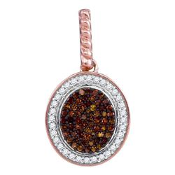 1/4 CTW Womens Round Red Color Enhanced Diamond Oval Pendant 10kt Rose Gold - REF-23R3X