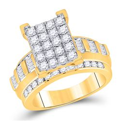 1 & 1/2 CTW Round Diamond Cluster Bridal Wedding Engagement Ring 10kt Yellow Gold - REF-109A2M