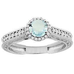 0.99 CTW Aquamarine & Diamond Ring 14K White Gold - REF-59X3M