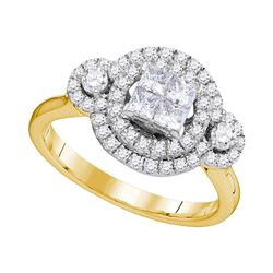 7/8 CTW Womens Princess Diamond Circle Cluster Ring 14kt Yellow Gold - REF-100V3Y