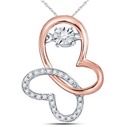 1/10 CTW Womens Round Diamond Moving Twinkle Butterfly Bug Pendant 10kt Rose Gold - REF-13T5V