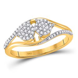 1/6 CTW Womens Round Diamond Double Cluster Ring 10kt Yellow Gold - REF-17T6V
