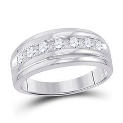 7/8 CTW Mens Round Diamond Wedding Band Ring 14kt White Gold - REF-81H7R