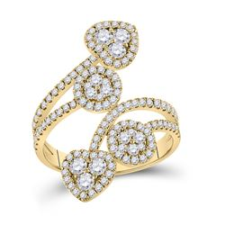 1 & 1/4 CTW Womens Round Diamond Bypass Cluster Heart Ring 14kt Yellow Gold - REF-115X8T