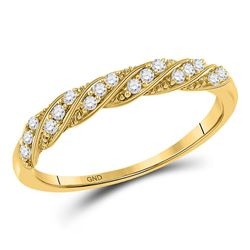 1/8 CTW Womens Round Diamond Stackable Band Ring 10kt Yellow Gold - REF-19M2F