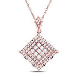 7/8 CTW Womens Round Diamond Blue Sapphire Square Pendant 14kt Rose Gold - REF-71H6R