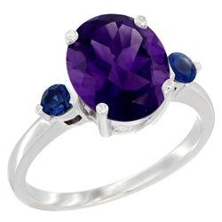 2.64 CTW Amethyst & Blue Sapphire Ring 14K White Gold - REF-32V3R