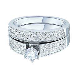 3/4 CTW Round Diamond Bridal Wedding Ring 14kt White Gold - REF-109X2T