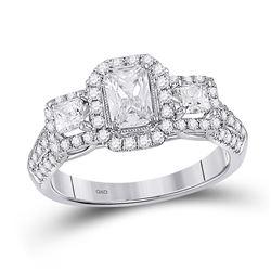 1 & 1/2 CTW Emerald Diamond 3-stone Bridal Wedding Engagement Ring 14kt White Gold - REF-233N7A