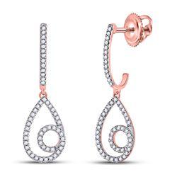 1/4 CTW Womens Round Diamond Curl Teardrop Dangle Earrings 10kt Rose Gold - REF-24M5F