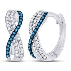 1/4 CTW Womens Blue Color Enhanced Diamond Hinged Hoop Earrings 10kt White Gold - REF-17V6Y