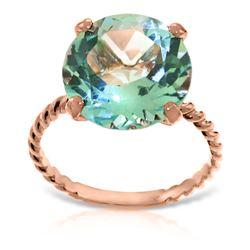 Genuine 8 ctw Blue Topaz Ring 14KT Rose Gold - REF-39Z6N