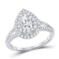 1 & 1/5 CTW Pear Diamond Halo Bridal Wedding Engagement Ring 14kt White Gold - REF-231M7F