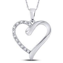 1/20 CTW Womens Round Diamond Heart Pendant 10kt White Gold - REF-8V3Y