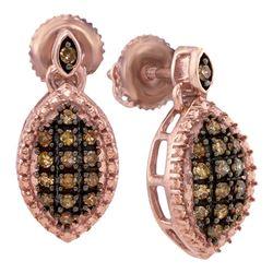 1/3 CTW Womens Round Brown Diamond Dangle Earrings 10kt Rose Gold - REF-19R2X