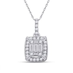 1/2 CTW Womens Baguette Diamond Cluster Pendant 14kt White Gold - REF-54A5M