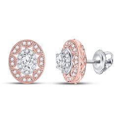 1/2 CTW Womens Oval Diamond Halo Earrings 14kt Two-tone Gold - REF-68R2X