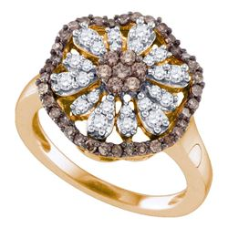 3/4 CTW Womens Brown Round Diamond Flower Cluster Ring 10k Rose Gold - REF-53N9A