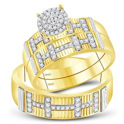 1/2 CTW His Hers Round Diamond Cluster Matching Wedding Set 10kt Yellow Gold - REF-58A5M
