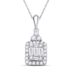 1/3 CTW Womens Baguette Diamond Square Cluster Pendant 14kt White Gold - REF-25Y9N