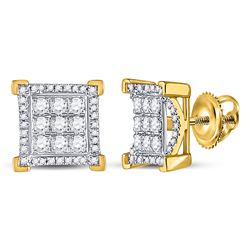 3/4 CTW Mens Round Diamond Fashion Cluster Earrings 10kt Yellow Gold - REF-51N2A