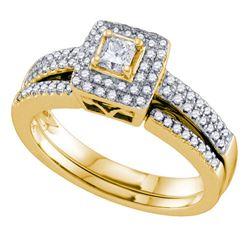 1/2 CTW Princess Diamond Bridal Wedding Ring 14kt Yellow Gold - REF-85M3F
