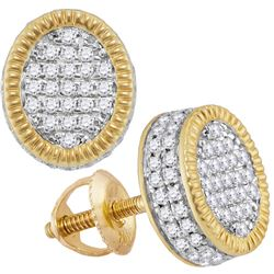 1/2 CTW Mens Round Diamond Fluted Oval Cluster Stud Earrings 10kt Yellow Gold - REF-39W5H