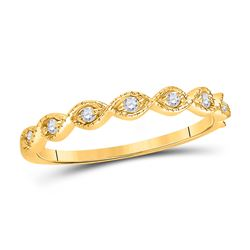 1/10 CTW Womens Round Diamond Classic Stackable Band Ring 14kt Yellow Gold - REF-20X5T